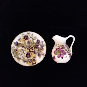 Vintage Mini Purple Flowers Pitcher / Plate